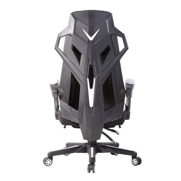Chaise de bureau pivotante contemporaine avec apui-tête ergonomique et hauteur réglable Landuci de FurnitureR, blanc
