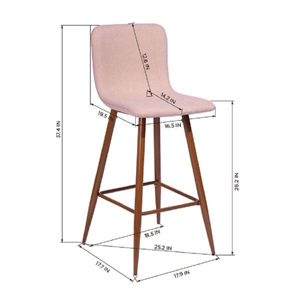 Tabouret de bar rembourré Scargill rose à hauteur de bar (27 po à 35 po) par FurnitureR, ens. de 2