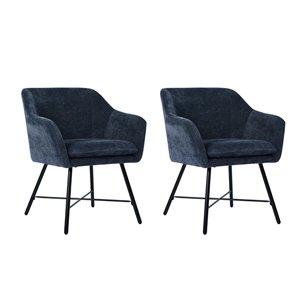 FurnitureR Rekik Set of 2 Black Contemporary Velvet Upholstered Arm Chair (Metal Frame)