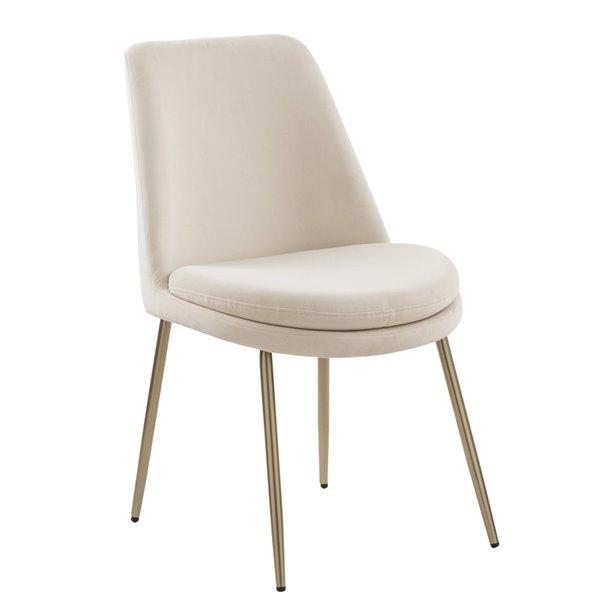 Chaise d'appoint contemporaine en velours rembourrée Stocker de FurnitureR, cadre en métal, beige, 2 pièces