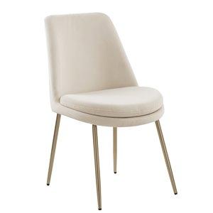 FurnitureR Stocker Set of 2 Beige Contemporary Velvet Upholstered Side Chair (Metal Frame)