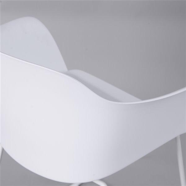 Fauteuil contemporain Viy de FurnitureR, cadre en métal, blanc, 2 pièces
