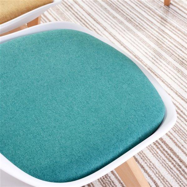 Chaise d'appoint contemporaine rembourrée en polyester Frankfurt de FurnitureR et cadre en composite, blanc, 2 pièces