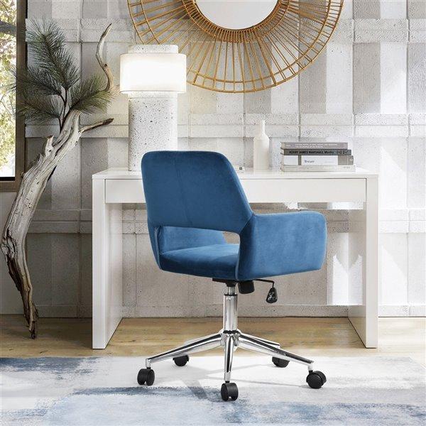 Chaise de bureau pivotante contemporaine et ergonomique avec hauteur réglable Ross de FurnitureR, bleu