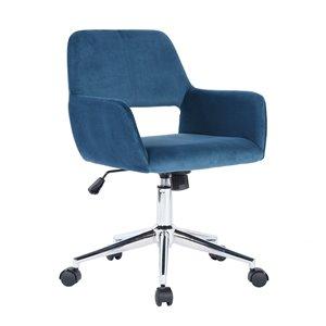 FurnitureR Ross Blue Contemporary Ergonomic Adjustable Height Swivel Desk Chair