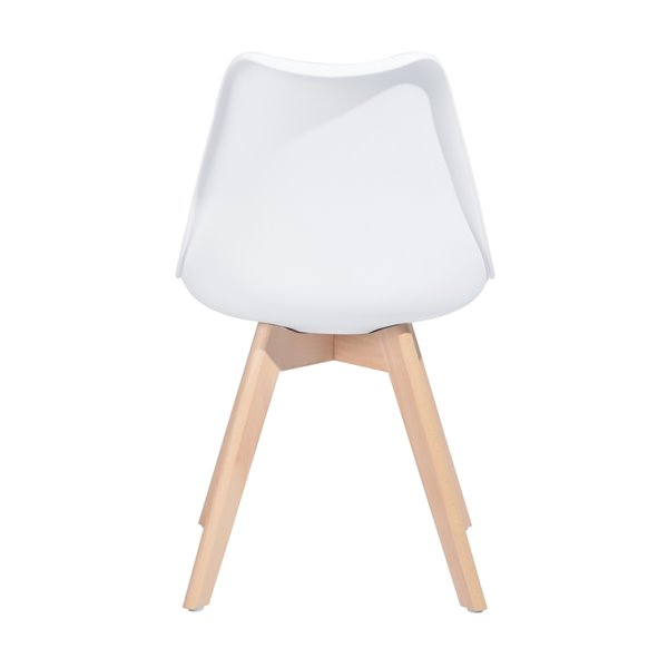 Chaise d'appoint contemporaine rembourrée en mélange de polyester Frankfurt de FurnitureR, cadre en composite, blanc, 2 pièce