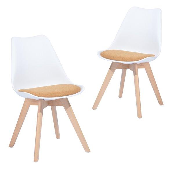 Chaise d'appoint contemporaine rembourrée en polyester Frankfurt de FurnitureR avec cadre en composite, blanc, 2 pièces