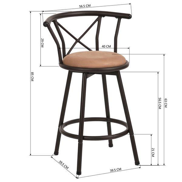 Tabouret de bar rembourré Hailey brun à hauteur de comptoir (22 po à 26 po) par FurnitureR, ens. de 2