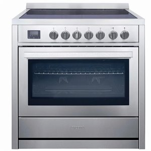 Ancona 36-in 5 Burners 3.8-cu ft Manual Cleaning Convection Oven Electric Range (Stainless Steel)