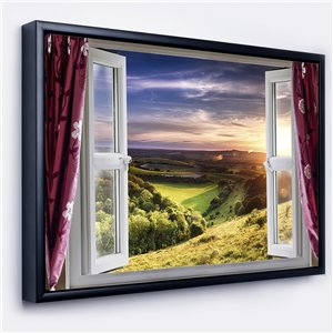Designart 32-in x 42-in Window View with Black Wood Framed Canvas Wall Panel