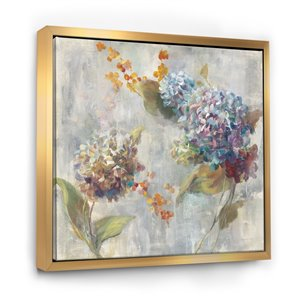 Designart 30-in x 30-in Autumn Hydrangea with Gold Wood Framed Wall Panel