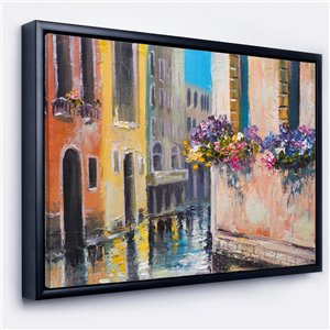 Designart 18-in x 34-in Canal in Venice with Flowers with Black Wood Framed Canvas Wall Panel