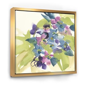 Designart 30-in x 30-in Spring Bouquet I with Gold Wood Framed Wall Panel