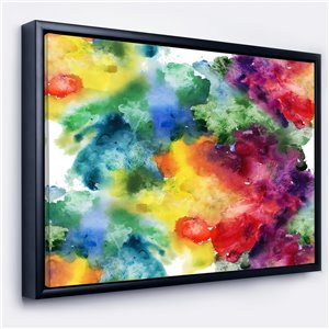 Designart 18-in x 34-in Abstract Watercolour Mind Painting with Black Wood Framed Canvas Wall Panel
