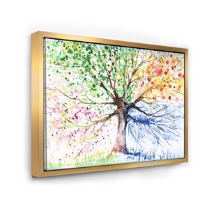 Designart 36-in x 46-in Four Seasons Tree with Gold Wood Framed Canvas Wall Panel
