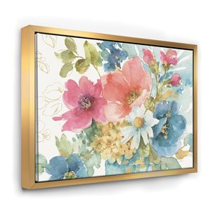 Designart 16-in x 32-in My French Garden with Gold Wood Framed Canvas Wall Panel