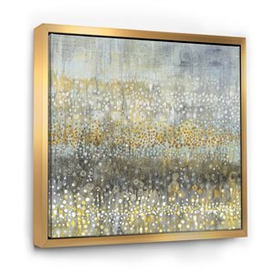 Designart 46-in x 46-in Gglam Rain Abstract IV with Gold Wood Framed Wall Panel