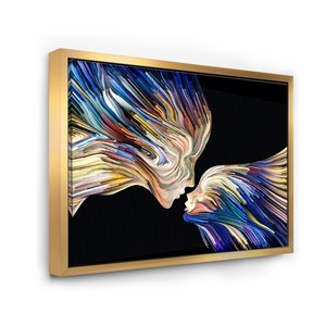 Designart Metal Wall Art Gold Wood Framed 32-in H X 42-in W Country Canvas Wall Panel