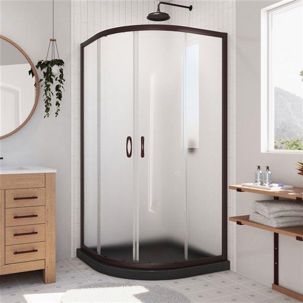 Cabine de douche en coin avec base Prime noire par DreamLine, 74,75 po x 36 po x 36 po, quincaillerie bronze huilé/verre givré