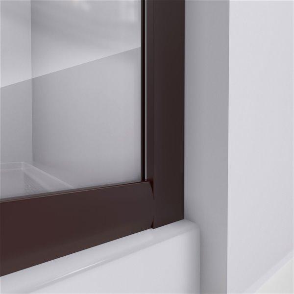 Cabine de douche en coin avec base Prime biscuit par DreamLine, 74,75 po x 38 po x 38 po, quincaillerie bronze huilé/verre clai