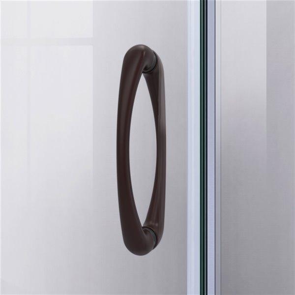 Cabine de douche en coin avec base Prime biscuit par DreamLine, 74,75 po x 38 po x 38 po, quincaillerie bronze huilé/verre givr