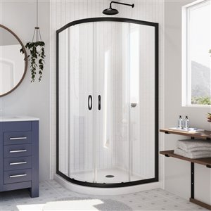 DreamLine Prime White 74.75-in x 38-in x 38-in 2-Piece Round Corner Shower Kit with Satin Black Hardware and Clear Glass