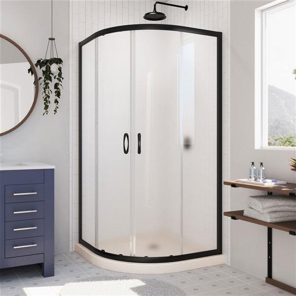 Cabine de douche en coin avec base Prime biscuit par DreamLine, 74,75 po x 33 po x 33 po, quincaillerie noir satiné/verre givr