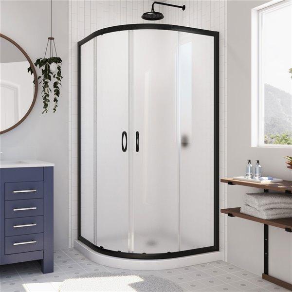 Cabine de douche en coin avec base Prime blanche par DreamLine, 74,75 po x 36 po x 36 po, quincaillerie noir satiné/verre givr
