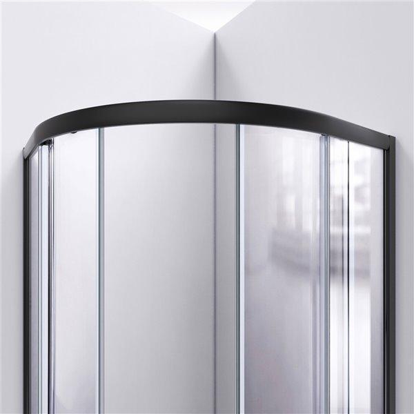 Cabine de douche en coin avec base Prime biscuit par DreamLine, 74,75 po x 38 po x 38 po, quincaillerie noir satiné/verre clair