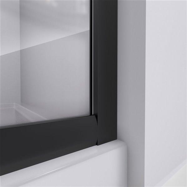Cabine de douche en coin avec base Prime noire par DreamLine, 74,75 po x 36 po x 36 po, quincaillerie noir satiné et verre givr