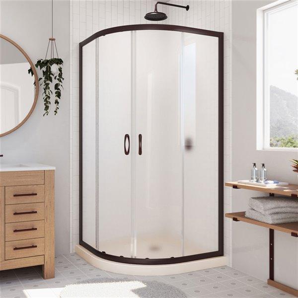 Cabine de douche en coin avec base Prime biscuit par DreamLine, 74,75 po x 36 po x 36 po, quincaillerie bronze huilé/verre givr