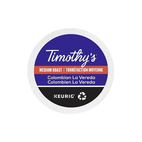 Ensemble de 96 capsules de café K-Cup par Keurig de Colombien La Vereda de Timothy's