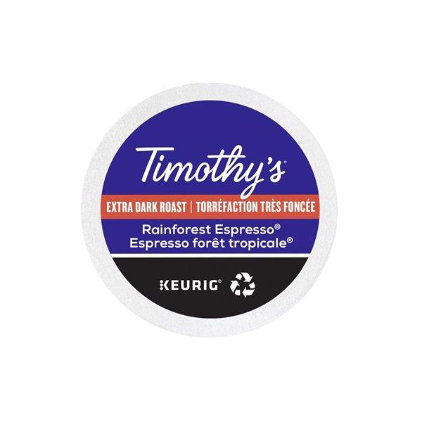 Ensemble de 96 capsules de café K-Cup par Keurig de Espresso forêt tropicale de Timothy's