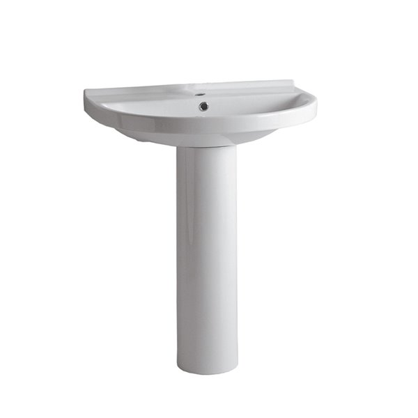 Whitehaus Collection Isabella 35-in H Vitreous China Pedestal Sink Combo in White