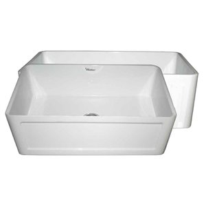 Whitehaus Collection Reversible Undermount Apron Front/Farmhouse 27-in x 19-in White Single Bowl Kitchen Sink