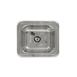 Whitehaus Collection Decorative Prep 15-in L x 15-in W Stainless Steel Drop-In Residential Prep Sink