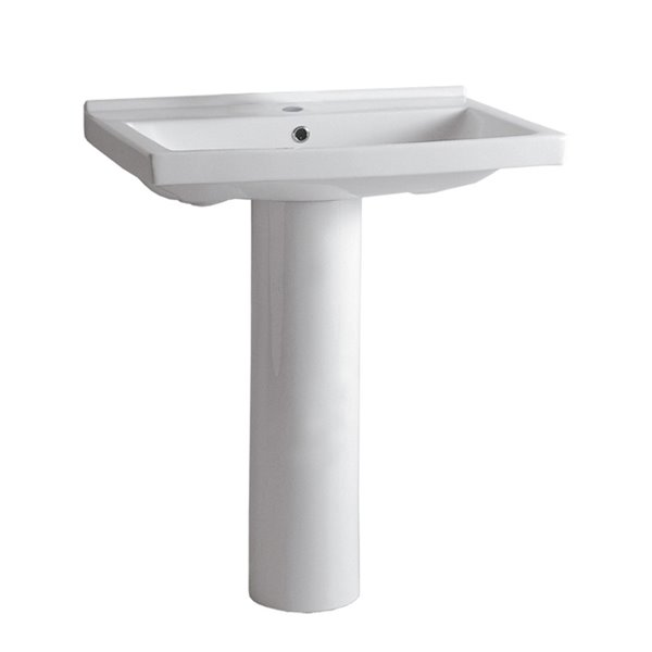 Whitehaus Collection Isabella 34.5-in H Vitreous China Pedestal Sink Combo - White