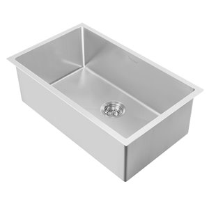 Whitehaus Collection Noah's Plus Collection Drop-in Or Undermount 33-in x 18-in Stainless Steel Single Bowl Kitchen Sink