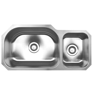 Whitehaus Noah's Collection Undermount 32.75-in x 16.75-in Stainless Steel Double Offset Bowl Kitchen Sink