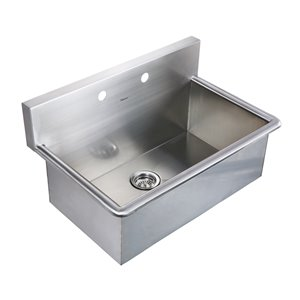 Whitehaus Collection 19.25-in x 31.13-in 1-basin Stainless Steel Wall Mount Laundry Sink