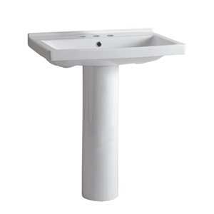Whitehaus Collection Isabella 34.5-in H White Vitreous China Pedestal Sink Combo