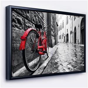 DesignArt 30-in x 40-in Retro Vintage Red Bike with Black Wood Framed Canvas Art Print