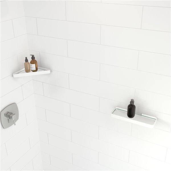MAAX Glass Wall Mount Bathroom Shelf in Glossy White