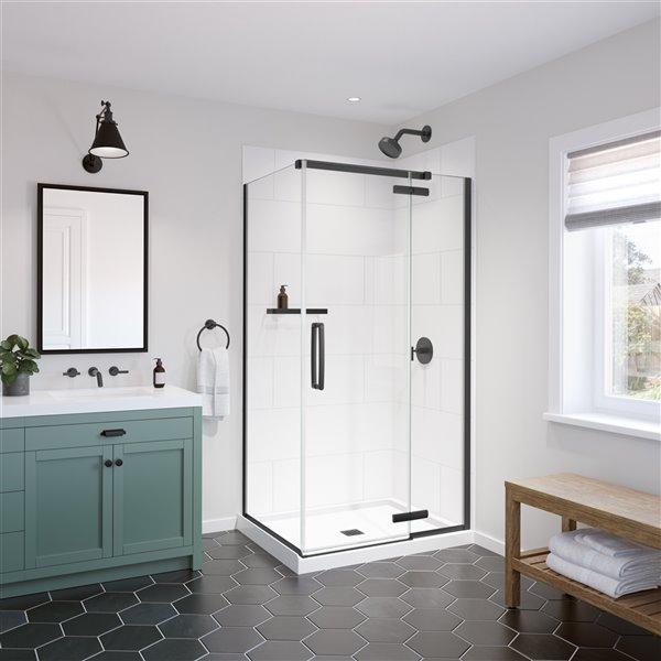 MAAX Matte Black Glass Wall Mount Bathroom Shelf