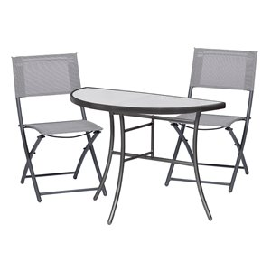 Sunmate Casual Gray Frame Bistro Patio Dining Set - 3-Piece