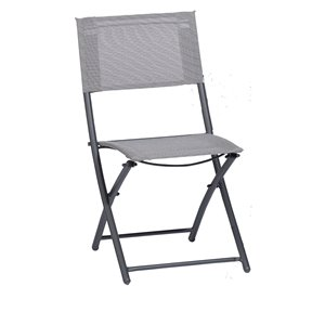 Sunmate Casual Grey Metal Stationary Balcony Chair with Mesh Seat