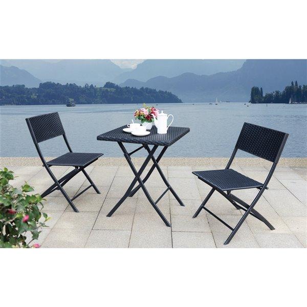 Ensemble de bistro pour patio à cadre gris par Sunmate Casual, 3 mcx