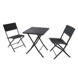 Sunmate Casual Black Frame Bistro Patio Dining Set - 3-Piece