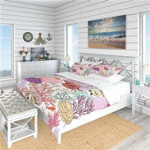 DesignArt 3-Piece Pink Nautical & Coastal Queen Duvet Cover Set