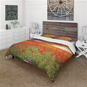 DesignArt 3-Piece Red Cabin & Lodge King Duvet Cover Set